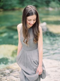 Grey dress | Anniversary Session by the Water | Wedding Ideas | OnceWed.com