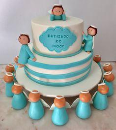 Bolo Menino Batizado Anjos Azul Cake  Cakedesign