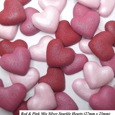 I don't think you can ever have too many hearts  on cakes at this time of year. And Vanessa has just listed these on the eBay shop. Each shade of heart whether red or hot pink or baby pink has an added silver sparkle to bring a gleam to any special cake. A set of 12 is priced at just 5.50 inc UK p&p. #JustAddCake for #Valentines. - - - - #sugarcraft #sugarart #hearts #pink #red #cupcakes #cakes #weddingcake #weddingideas #womeninbusiness #shopsmall #ebay