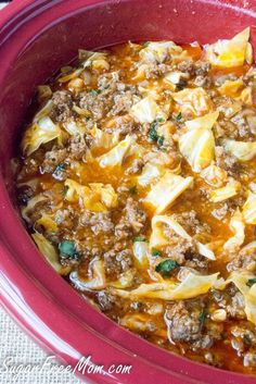 cabbage roll soup http://www.sugarfreemom.com/recipes/crock-pot-low-carb-un-stuffed-cabbage-roll-soup/