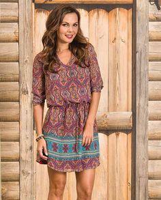 62712780578 Stetson Women s Rust and Turquoise Medallion Print Chiffon Dress. Drysdales Western  Wear