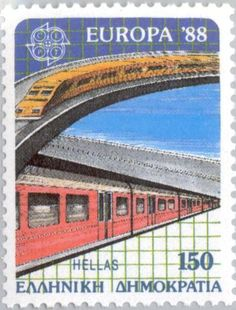 Stamp: EUROPA/CEPT Transportation and Communication (Greece) (Europa (C.E.P.T.))… Stamp Collecting, Postage Stamps, Transportation, Communication, Europe, Andorra, Education, World, Eagles