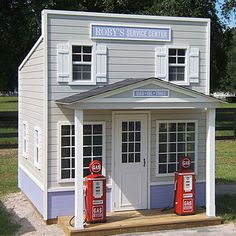 Fill'er up with friends, laughter, smiles and lots of imagination! Your little one will have hours of fun in this incredible gas station that's just their size. Station features a covered porch, five operable windows and skylight, wood slat shutters, two gas pumps, and working service doors.