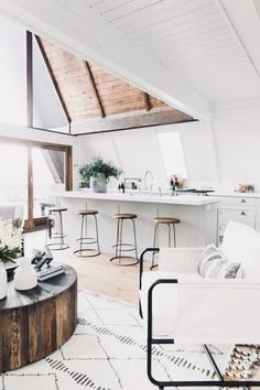Boho Minimalist Chic Style Kitchen Wood White Open Modern Home Decor