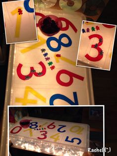 Teddies  cellophane numbers on the home-made light box... from Rachel