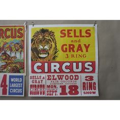 Sells and Gray 3 Ring Circus Poster - Pedlars Friday Vintage