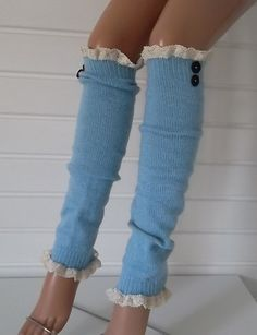 Blue Leg Warmers Boot Socks Machine Knit Boot by CarnavalBoutique,
