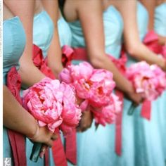 Pink flowers with turquoise dresses