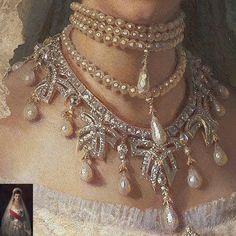 Detail from a portrait of Empress Maria Fedorovna of Russia Renaissance Kunst, Renaissance Paintings, Renaissance Jewelry, Aesthetic Painting, Aesthetic Art, Maria Feodorovna, Princess Aesthetic, Victorian Art, Old Paintings