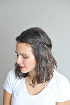 fishtail braid half up short hair via @mystylevita