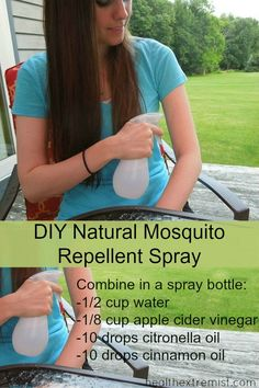 Make Your Own Natural Mosquito Repellent Spray. Combine these ingredients in a spray bottle an spray on your skin to naturally repel mosquitoes