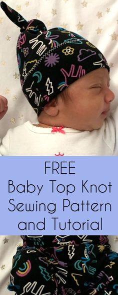 Free Baby Top Knot Hat Sewing Pattern and Tutorial Sewing Blogs, Sewing Tutorials, Sewing Hacks, Sewing Tips, Hat Patterns To Sew, Sewing Patterns Free, Bee Fabric, Straight Stitch, How To Make Clothes