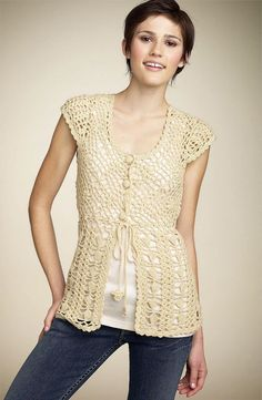 MyPicot   Free crochet patterns. //  I THINK I WOULD CONTINUE WITH THE TOP PATTERN ALL THE WAY DOWN...and no belt...and longer sleeves! BUT THAT'S IT. THEN IT WOULD BE PERFECT, FOR ME! ♥A