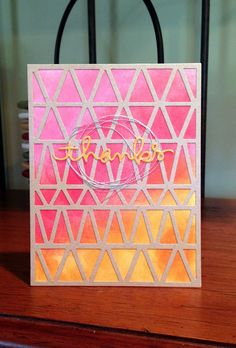 Thanks card triangle background with ink blending and die cuts.