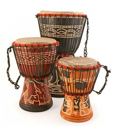 Ghanaian Djembe Hand Drums - Art & Sculpture Handmade in Africa - Swahili Modern - 1 African Imports, Drums Art, Play Drums, Djembe Drum, African Home Decor, African Crafts, African Drum, Instruments, African Safari