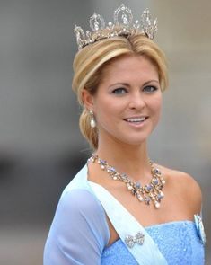 Princess Madeleine of Sweden wearing a delicate diamond tiara that looks perfect for her age. We love her necklace, and especially her pear-shaped pearl drops! http://blog.caratlane.com/2010/06/28/celebrity-style-watch-crown-jewels-at-the-swedish-royal-wedding/