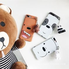 Cute We Bare Bears 3D Doll Stand Holder Soft Case Cover For Iphone 8 6S 7 7Plus