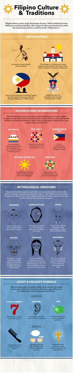 [Infographic] A Guide to Filipino Culture & Traditions Whether you're traveling to the Philippines or doing research for a paper, here is everything you need to know from the culture and history to mythological creatures. Bohol, Palawan, Voyage Philippines, Philippines Travel Guide, Philippines Culture, Phillipines Travel, Manila Philippines, Filipino Art, Filipino Culture