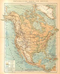 1896 Original Antique Relief Map of North America