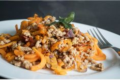 Paleo and AIP Sweet Potato and Sausage 'Pasta'Primal Eye