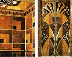 Detail of the elevator interior and door, Chrysler Building.