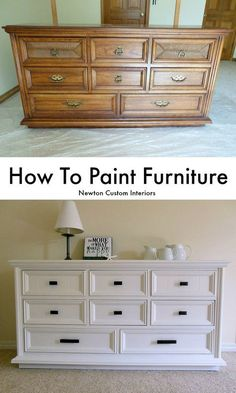 To Paint Furniture - Learn how to paint furniture with this step-by-step tutorial. Many tips for how to get a smooth finish.How To Paint Furniture - Learn how to paint furniture with this step-by-step tutorial. Many tips for how to get a smooth finish. Refurbished Furniture, Repurposed Furniture, Weathered Furniture, Vintage Furniture, Furniture Dolly, Farmhouse Furniture, Diy Furniture Repurpose, Upcycled Furniture Before And After, Victorian Furniture
