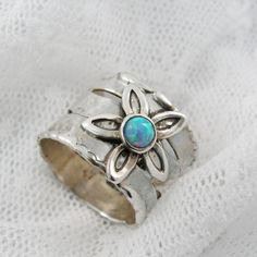 Floral opal silver ring. Sterling silver opal by STarLighTstudiO3, $84.00