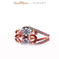 Sholdt 14K Rose Gold Flora Solitaire and Naomi Diamond Band