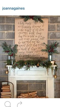 Fixer upper Christmas mantle