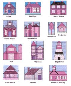 House barn quilt blocks 19 new Ideas House Quilt Patterns, House Quilt Block, Paper Piecing Patterns, Quilt Block Patterns, Pattern Blocks, Quilt Blocks, Quilting Projects, Quilting Designs, Art And Craft Videos