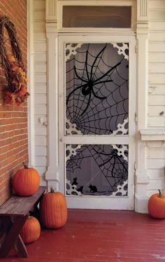 Halloween decorations Made in the USA. Witch, Skeleton, and Spider Web lace window panels. Beautiful, unique, vintage-style Holiday home decor and more. Outdoor Halloween, Halloween 2018, Holidays Halloween, Fall Halloween, Halloween Crafts, Halloween Party, Halloween Spider, Happy Halloween, Halloween Designs