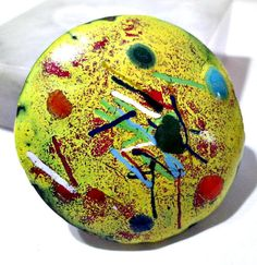 Artsy Colorful Yellow Splatter Abstract Copper Enamel Pin Bright Vintage 1970's Midcentury