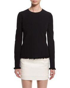 TOM FORD Fringe-Hem Long-Sleeve Sweater, Black. #tomford #cloth #
