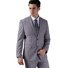 Suits Tailored Fit Slim Notch Two-Button Fleece/Polyester Solid 3 Pieces Light Gray – USD $ 128.99