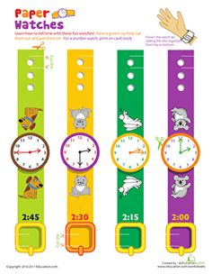 Including four play watches, each showing a time between 2:00 and 2:45, this printable is a simple way to help your child start learning how to tell time.