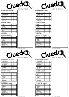 Printable clue score sheets in Microsoft Word, Works, PDF