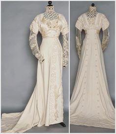 Cream Wool Evening/Wedding Gown c. 1908