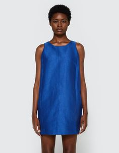Modern tank dress from Stelen in Blue. Round neckline. Tank straps. Concealed back zip closure. Gusseted side panels. Straight hem. Lined.  • Twill sateen shell, crepe lining • 52% polyester, 48% cotton shell • 100% polyester lining • Hand wash cold