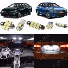 12x White LED lights interior package kit for 2015 & Up Toyota Camry TC5W #Motors #Parts #Accessories #T10 168 194 2825 DE3175 DE3022 LED Bulbs