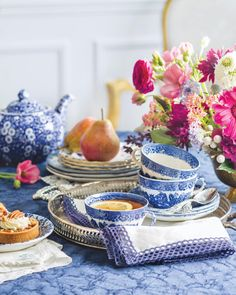 Flowers and leaves may come and go, but the splendor of blue and white endures no matter the season. 🍽️ : Replacements, Ltd. #southernladymag #blueandwhite #blueandwhiteforever #tabletopinspo #tablescape #teatime #blueandwhitechina #teacaups #teapot #floralinspo Southern Ladies, Blue And White China, Tablescapes, Tea Time, Tea Pots, Table Decorations, Leaves, Autumn, Furniture
