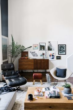"""They describe the seating as a series of musical chairs, places where they can jump around from lounging to working spaces. Probably the fanciest game of musical chairs though... what with a DWR <a href=""""http://www.dwr.com/product/eames-lounge-ottoman-vicenza.do?sortby=ourPicks"""" target=""""_blank"""">Eames Lounge Chair</a> and an original Harry Bertoia Diamond Lounger. That was a Craigslist find. According to Savannah, it was such a steal. """"I think I blacked out AND cried when I found the…"""