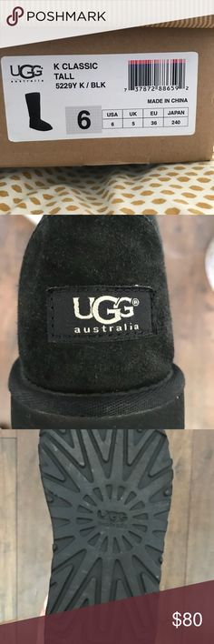 Class is Tall UGG boots Black. Only worn a few times. Good condition. They are a kids 6 which is equivalent to a women's 7-7.5. UGG Shoes Winter & Rain Boots