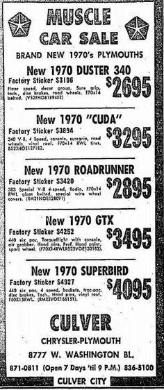 1970 Plymouth Culver City Mopar ad!