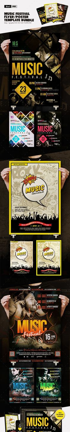 alternative, band, bass, blue, club, cover, edm, event, fest, festival, flyer, green, grunge, hedjux, jazz, minimal, paper, party, party flyer, poster, red, reggea, retro, rock, sound, template, vintage, yellow  Bundle Of Music Festival Flyer/Poster :  This flyer/poster can be used to promote an electronic music event, EDM, jazz, and indie alternative.This psd template is perfect for a festival music.   	 Features :   1. 3 PSD in 9 Variant   2. Size 8.3×11.7 inch + Bleed 0.25 inch   3…