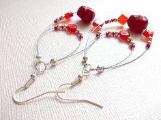 Red Beaded Loop Earrings by arianaalysedesigns on Etsy, $16.00