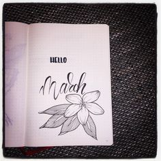 Bullet journal monthly cover page, hand lettering, flower drawing. | @journalforlove
