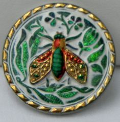 Fly Czech Glass Button