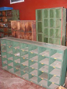 Industrial pigeon hole shelves in various size and shape combinations