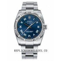 Rolex Air-King esfera de oro blanco Bisel acanalado azul reloj 114234 BLRO
