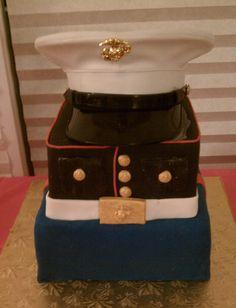 Layered Marine Corps cake